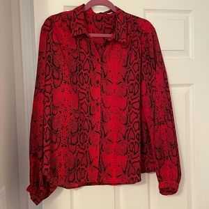 Costes Studio red/black snake print blouse size 44